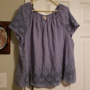 Style & co eyelet embroidery top xl